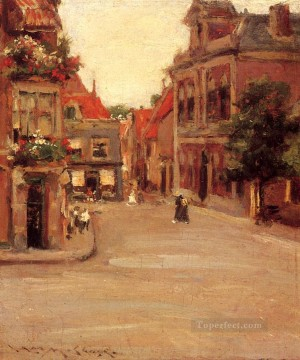 william art painting - The Red Roofs of Haarlem aka A Street in Holland William Merritt Chase