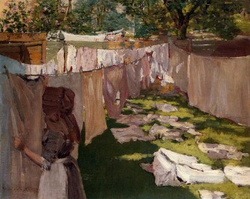 chase Oil Painting - Wash Day A Back Yark Reminiscence of Brooklyn William Merritt Chase
