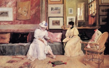 chase Oil Painting - A Friendly Call William Merritt Chase
