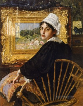 Artists Oil Painting - A Study aka The Artists Wife William Merritt Chase