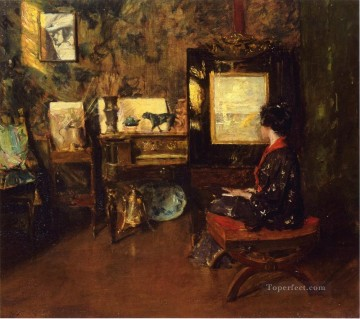 William Merritt Chase Painting - Alice in the Shinnecock Studio William Merritt Chase