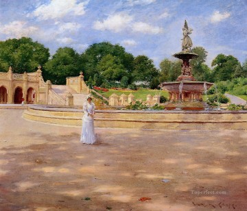 William Merritt Chase Painting - An Early Stroll in the Park William Merritt Chase