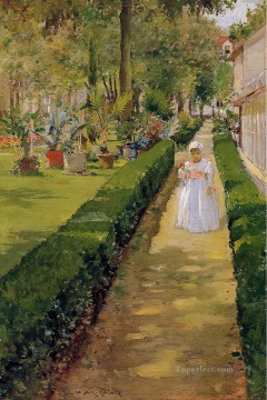 William Merritt Chase Painting - Child on a Garden Walk William Merritt Chase