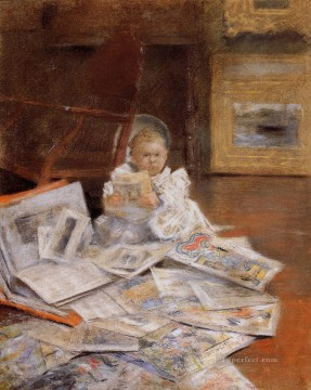 William Merritt Chase Painting - Child with Prints William Merritt Chase