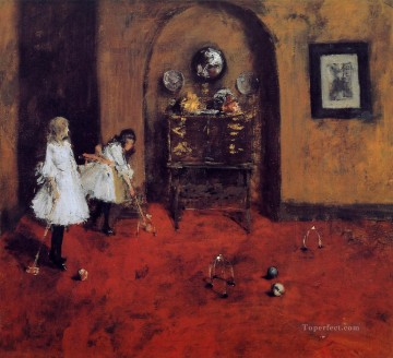 Playing Painting - Children Playing Parlor Croquet sketch William Merritt Chase