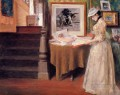 Interior Young Woman at a Table William Merritt Chase
