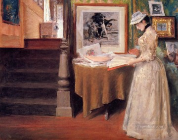 Interior Painting - Interior Young Woman at a Table William Merritt Chase