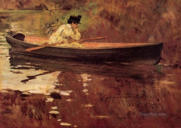 mrs - Mrs Chase in Prospect Park William Merritt Chase