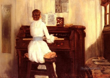 William Merritt Chase Painting - Mrs Meigs At The Piano Organ William Merritt Chase