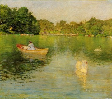 william art painting - On the Lake Central Park William Merritt Chase