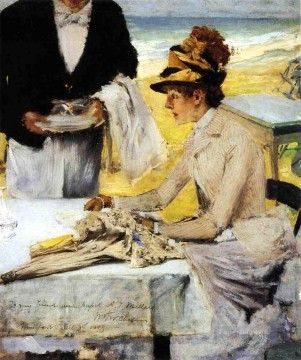 William Merritt Chase Painting - Ordering Lunch by the Seaside William Merritt Chase