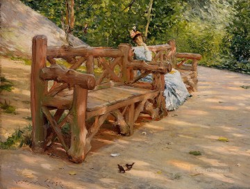 Bench Painting - Park Bench aka An Idle Hour in the Park Central Park William Merritt Chase