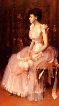 lady - Portrait Of A Lady In Pink William Merritt Chase
