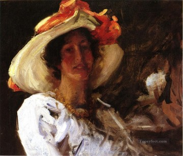 William Merritt Chase Painting - Portrait of Clara Stephens Wearing a Hat with an Orange Ribbon William Merritt Chase