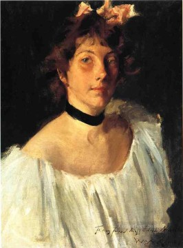 lady - Portrait of a Lady in a White Dress aka Miss Edith Newbold William Merritt Chase