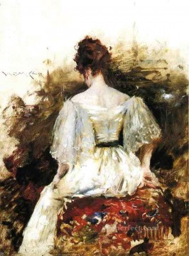Dress Painting - Portrait of a Woman The White Dress William Merritt Chase