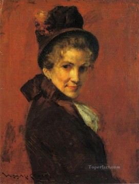 chase Oil Painting - Portrait of a Woman black bonnet William Merritt Chase