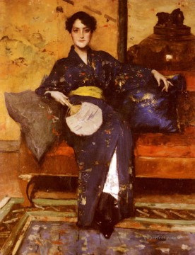 William Merritt Chase Painting - The Blue Kimono William Merritt Chase