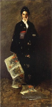 William Merritt Chase Painting - The Japanese Book William Merritt Chase
