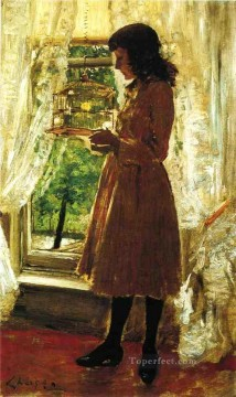 William Merritt Chase Painting - The Pet Canary William Merritt Chase