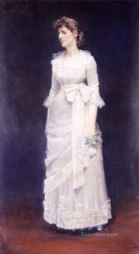 rose roses Painting - The White Rose aka Miss Jessup William Merritt Chase