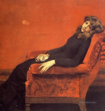 William Merritt Chase Painting - The Young Orphan Study of a Young Girl aka At Her Ease William Merritt Chase