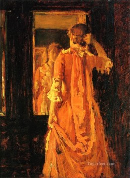 William Merritt Chase Painting - Young Woman Before a Mirror William Merritt Chase