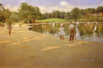 William Merritt Chase Painting - The Lake for Miniature Yachts aka Central Park William Merritt Chase