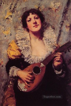 William Merritt Chase Painting - The Mandolin Player William Merritt Chase