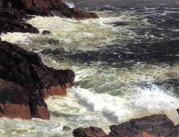 Church Art - Rough Surf Mount Desert Island scenery Hudson River Frederic Edwin Church