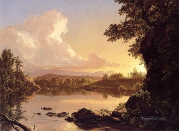 cat cats Painting - Scene on the Catskill Creek New York scenery Hudson River Frederic Edwin Church