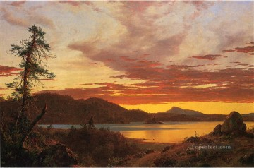 Sun Oil Painting - Sunset scenery Hudson River Frederic Edwin Church
