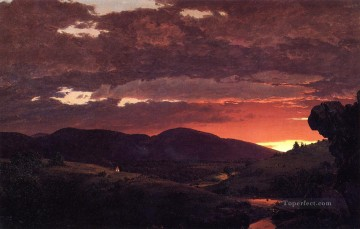 TwilightShort arbitertwixt day and night scenery Hudson River Frederic Edwin Church Oil Paintings