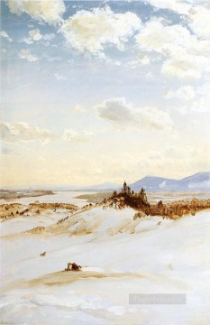 Church Art - Winter Scene Olana scenery Hudson River Frederic Edwin Church