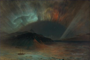 Aurora Borealis scenery Hudson River Frederic Edwin Church Oil Paintings