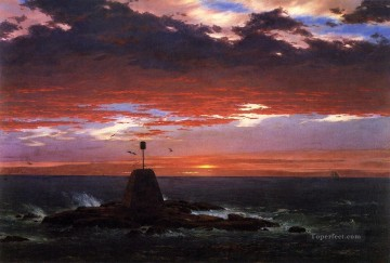 Frederic Edwin Church Painting - Beacon off Mount Desert Island scenery Hudson River Frederic Edwin Church