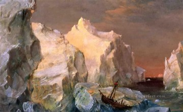 Sun Oil Painting - Icebergs and Wreck in Sunset scenery Hudson River Frederic Edwin Church