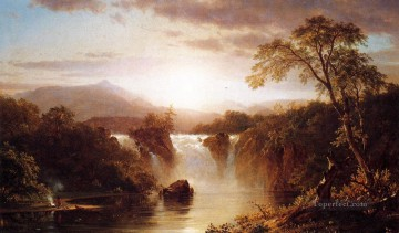 Landscape with Waterfall scenery Hudson River Frederic Edwin Church Oil Paintings