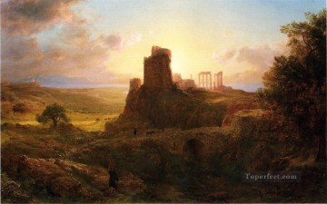 Sun Oil Painting - The Ruins at Sunion Greece scenery Hudson River Frederic Edwin Church