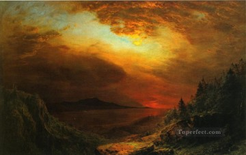 Twilight Mount Desert Island Maine scenery Hudson River Frederic Edwin Church Oil Paintings