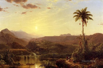 sunset sunrise Painting - The Cordilleras Sunrise scenery Hudson River Frederic Edwin Church