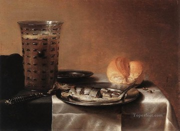 Pieter Claesz Painting - Still life with Herring Pieter Claesz