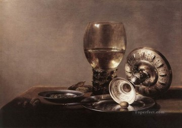 Wine Painting - Still life with Wine Glass and Silver Bowl Pieter Claesz
