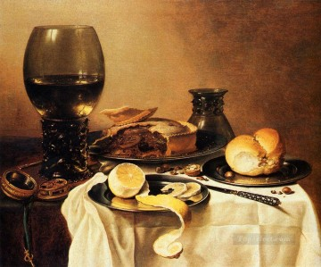 Pieter Claesz Painting - Breakfast Still Life With Roemer Meat Pie Lemon And Bread Pieter Claesz