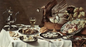 Pieter Claesz Painting - Still life with Turkey Pie Pieter Claesz