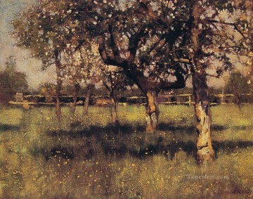Claus Oil Painting - An orchard in May modern scenery impressionist Sir George Clausen