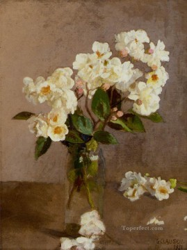 White Art - Little White Roses modern flower impressionist Sir George Clausen