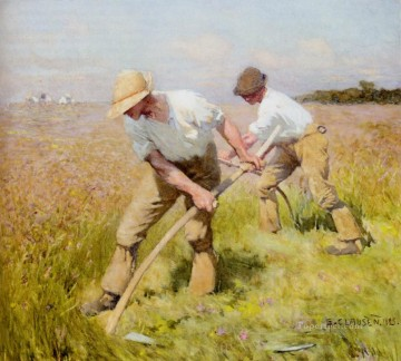 Claus Oil Painting - The Mowers modern peasants impressionist Sir George Clausen