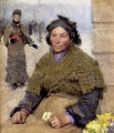 Flora The Gypsy Flower Seller modern peasants impressionist Sir George Clausen