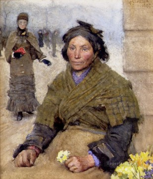 flower Works - Flora The Gypsy Flower Seller modern peasants impressionist Sir George Clausen